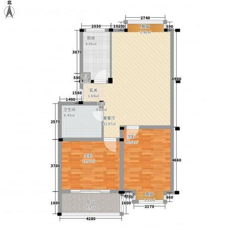 华景新城2室1厅1卫1厨80.61㎡户型图