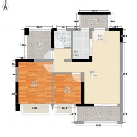 润城双壁湾2室1厅1卫1厨87.00㎡户型图