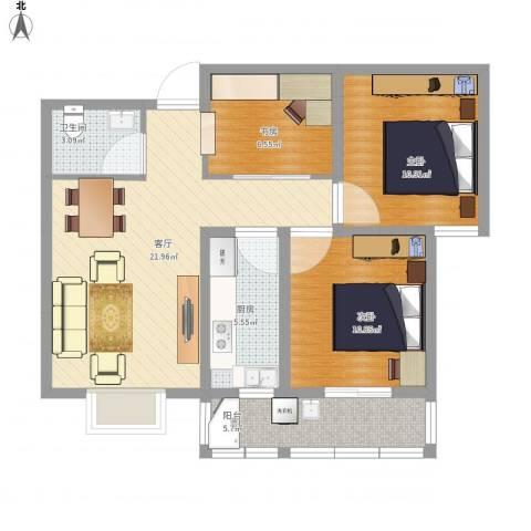 康恒悦麒美寓3室1厅1卫1厨94.00㎡户型图