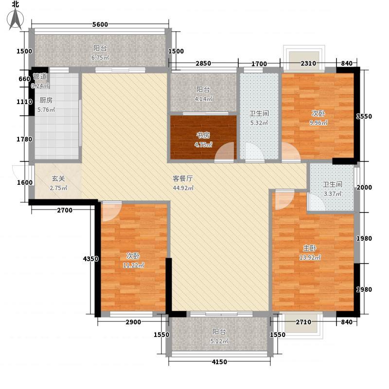 富利家园13.38㎡B2户型4室2厅2卫1厨