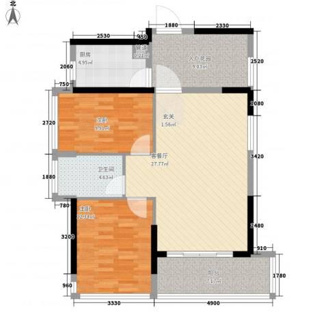 熙龙小镇2室1厅1卫1厨81.00㎡户型图