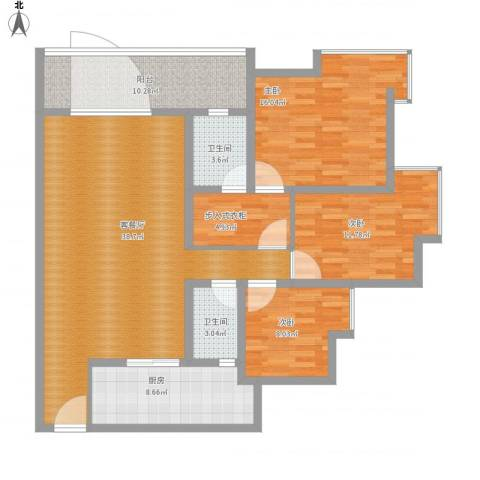 江畔如歌3室1厅2卫1厨150.00㎡户型图