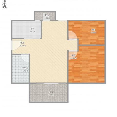 星汇雅苑2室1厅1卫1厨89.00㎡户型图