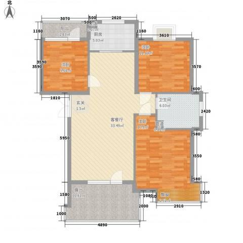 阳光海岸3室1厅1卫1厨108.04㎡户型图
