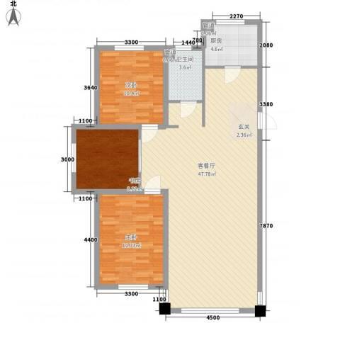 紫金城三期3室1厅1卫1厨113.00㎡户型图