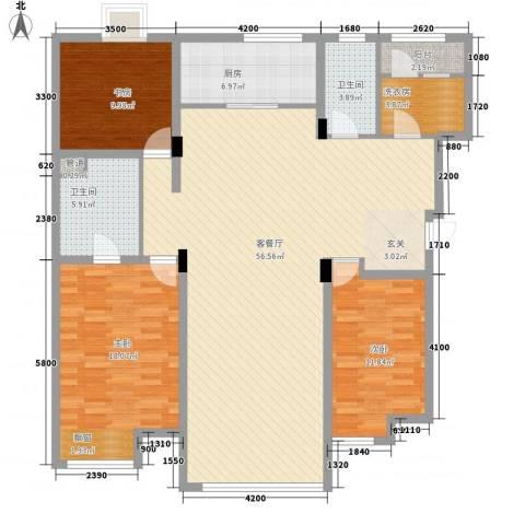 信和小区3室1厅2卫1厨168.00㎡户型图