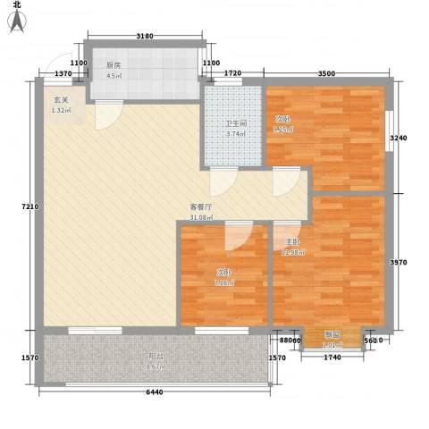 望伟花园3室1厅1卫1厨106.00㎡户型图