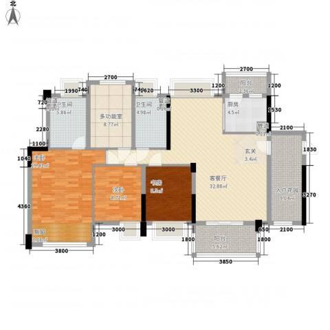 益田大运城邦3室1厅2卫1厨143.00㎡户型图