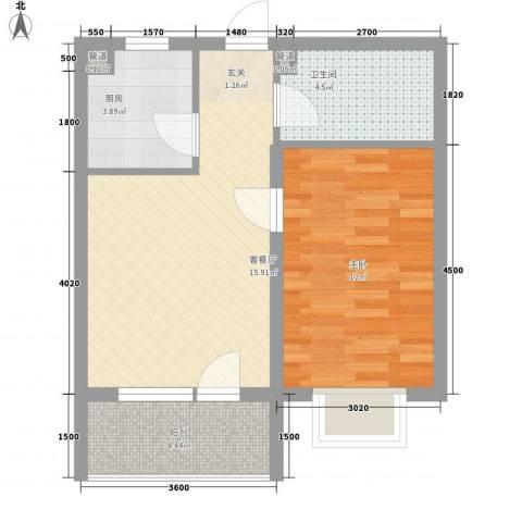 阳光海岸1室1厅1卫1厨47.20㎡户型图