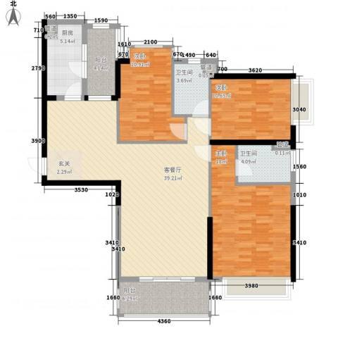 中颐海伦堡3室1厅2卫1厨127.00㎡户型图