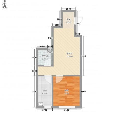 辽阳凯旋门广场1室1厅1卫1厨52.00㎡户型图