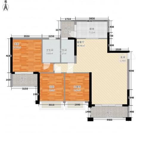 中颐海伦堡3室1厅2卫1厨117.00㎡户型图