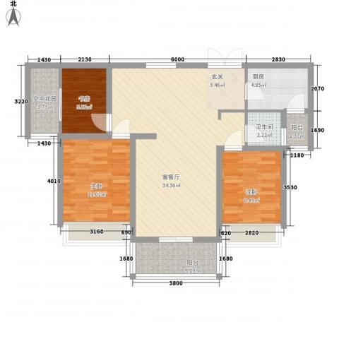 宜居・燕苑3室1厅1卫1厨77.09㎡户型图