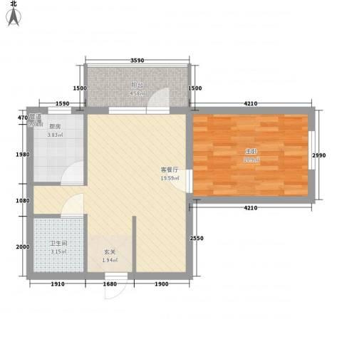 阳光海岸1室1厅1卫1厨48.38㎡户型图