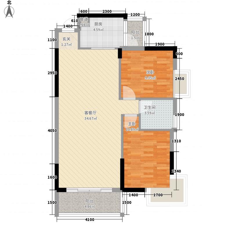 富利家园84.58㎡B3户型2室1厅1卫1厨