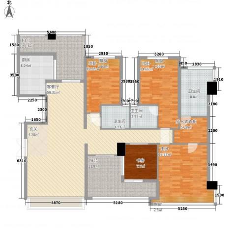 锦绣香江牡丹园4室1厅3卫1厨224.00㎡户型图