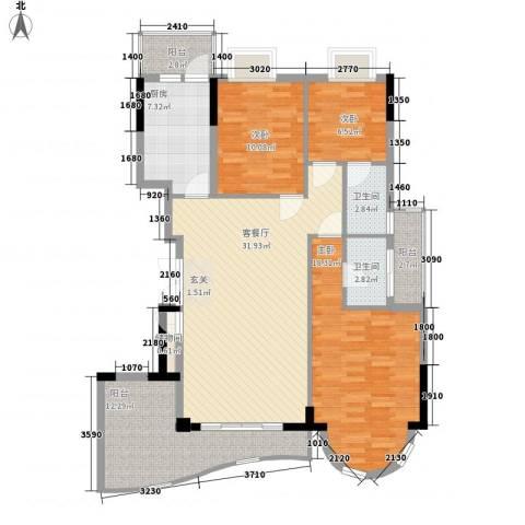 福苑花园3室1厅2卫1厨107.00㎡户型图