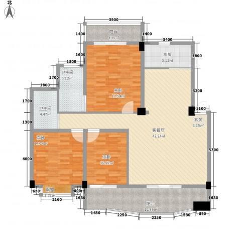 圆梦园3室1厅2卫1厨128.00㎡户型图