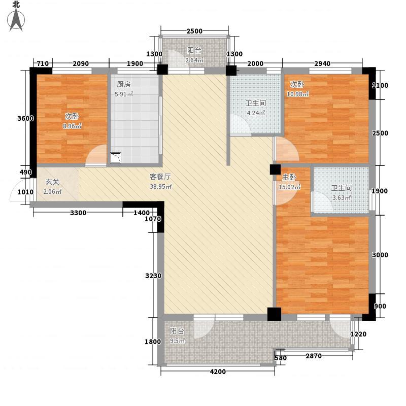 学府丽城132.00㎡5号楼F户型3室2厅2卫1厨