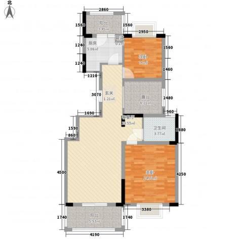 海纳国际2室1厅1卫1厨76.48㎡户型图