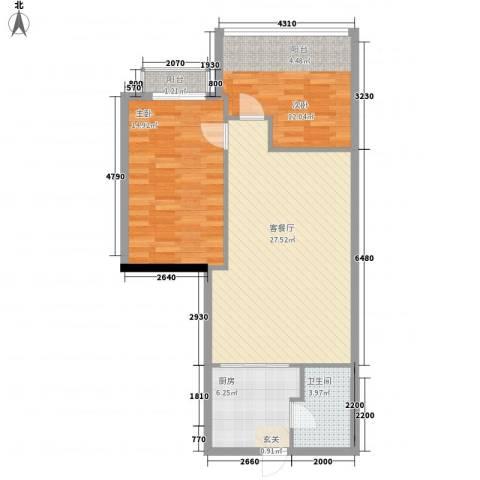 圆梦园2室1厅1卫1厨65.91㎡户型图