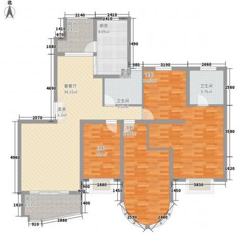 华丽家族花园3室1厅2卫1厨178.00㎡户型图