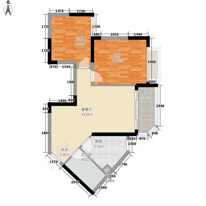 恒大城1281.20㎡1号楼02户型2室2厅1卫1厨
