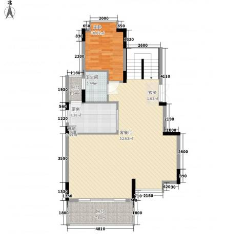 招商观园住宅1室1厅1卫1厨114.00㎡户型图