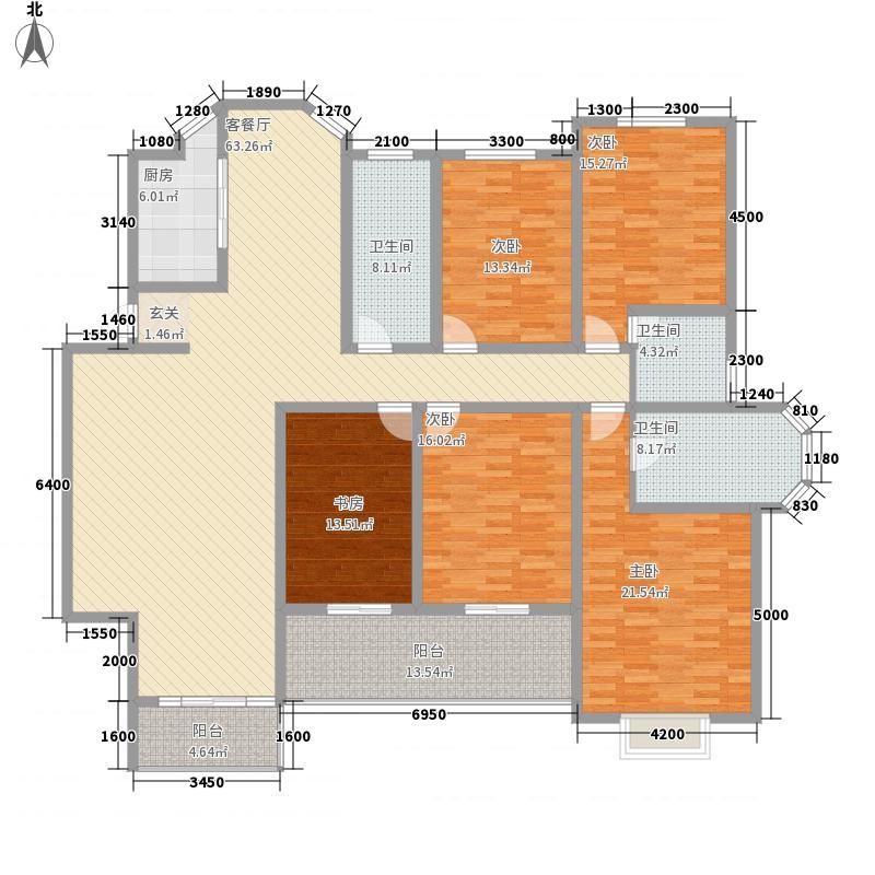 海联滨河帝景231.80㎡2号楼A户型4室2厅3卫1厨