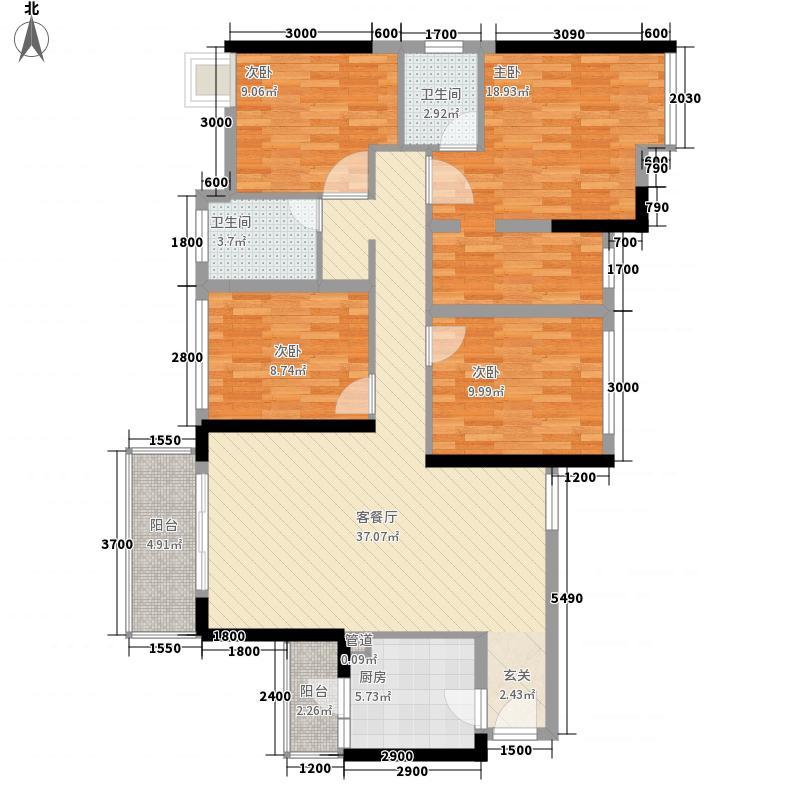 金地朗悦125.00㎡D户型4室2厅2卫1厨