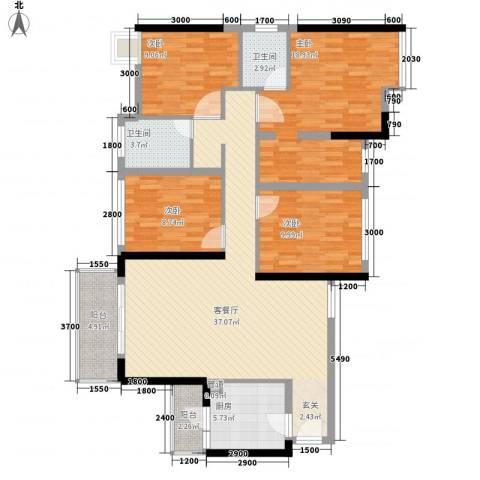 金地朗悦4室1厅2卫1厨125.00㎡户型图
