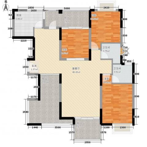厦航同城湾3室1厅2卫1厨126.00㎡户型图