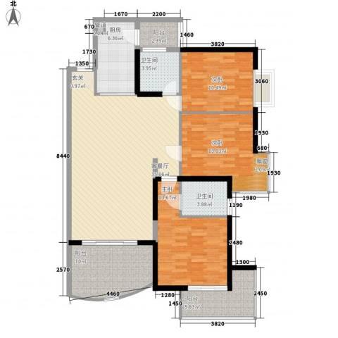 东安花园3室1厅2卫1厨130.00㎡户型图