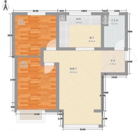 万科仕林苑2室2厅1卫0厨88.00㎡户型图