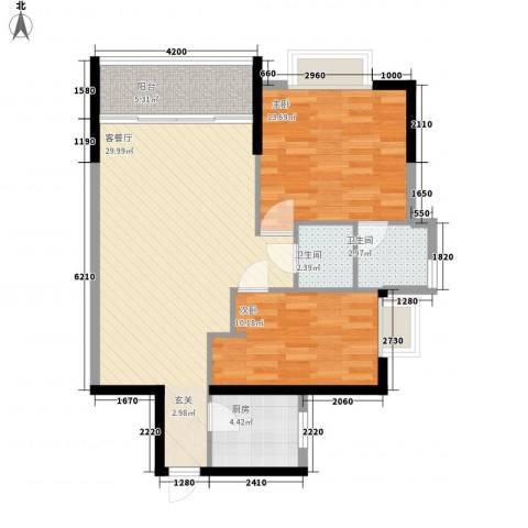 盈丰商住中心2室1厅2卫1厨77.83㎡户型图