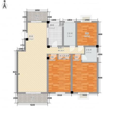 财富广场3室1厅2卫1厨152.00㎡户型图