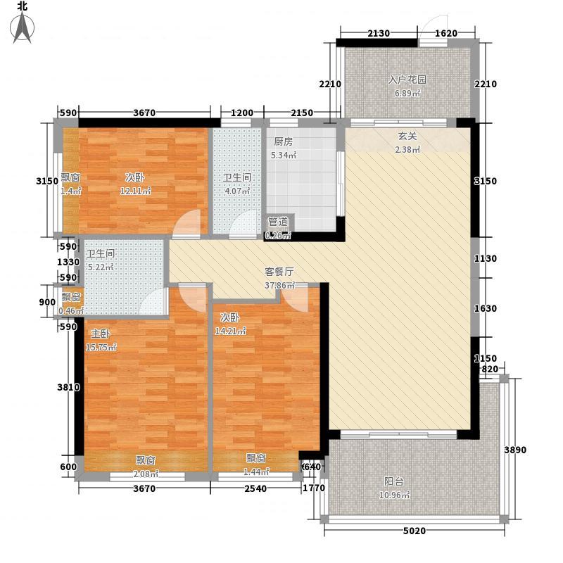盛世汇景4133.57㎡4#楼标准层03号房户型3室2厅2卫1厨