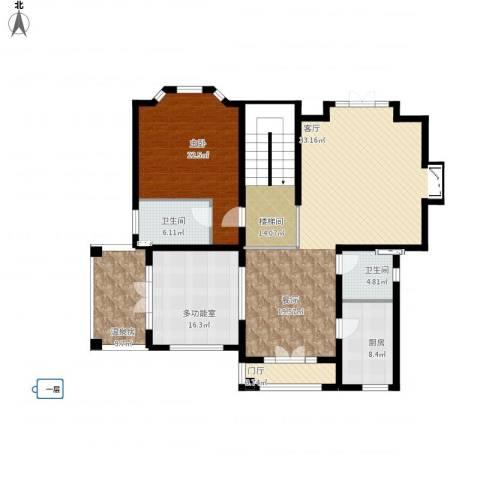 京津新城别墅1室1厅2卫1厨197.00㎡户型图