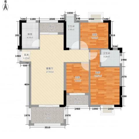 山水华庭3室1厅2卫1厨2151715072.00㎡户型图