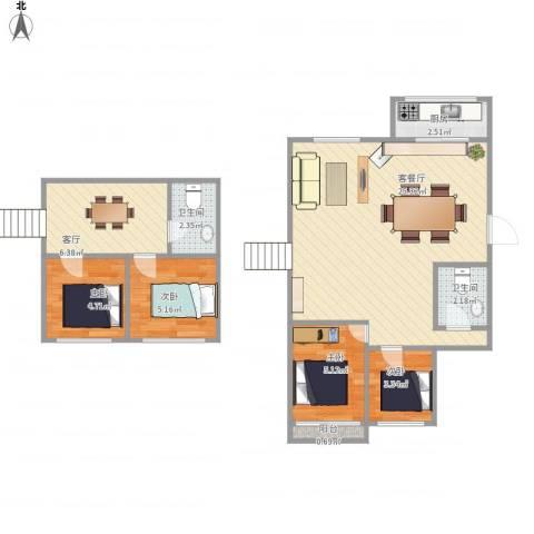 湖滨苑4室2厅2卫1厨79.00㎡户型图