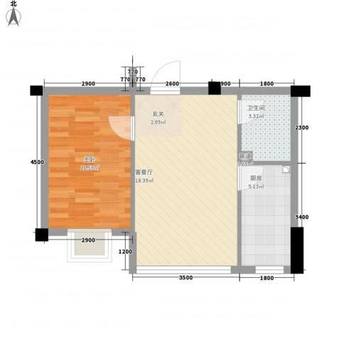锦城・四月天1室1厅1卫1厨52.00㎡户型图