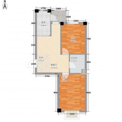锦城・四月天2室1厅1卫1厨66.00㎡户型图