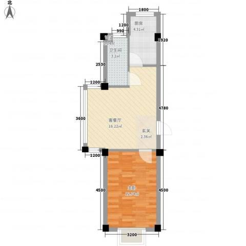 锦城・四月天1室1厅1卫1厨55.00㎡户型图