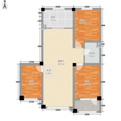 辽阳泛美华庭3室1厅1卫1厨122.00㎡户型图