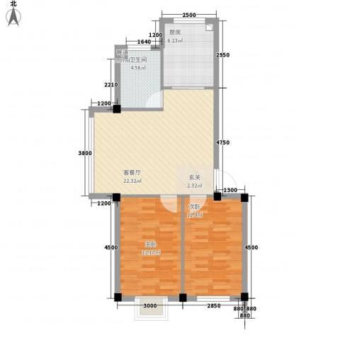 锦城・四月天2室1厅1卫1厨79.00㎡户型图