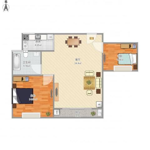 绿地太湖城别墅2室1厅1卫1厨94.00㎡户型图