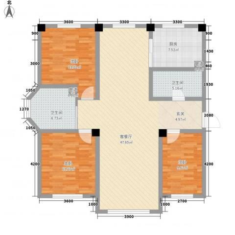 辽阳泛美华庭3室1厅2卫1厨147.00㎡户型图