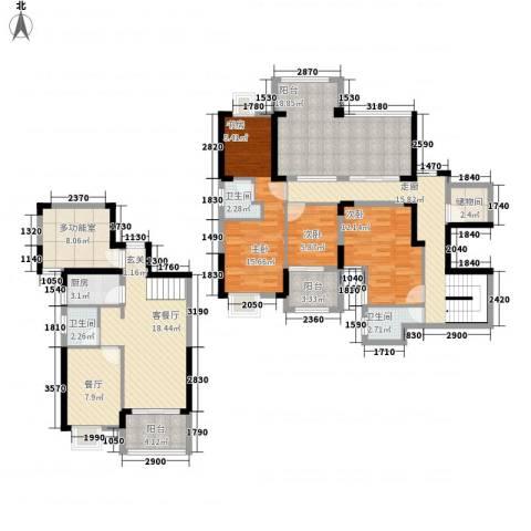 山水华庭3室2厅3卫1厨215171520.00㎡户型图
