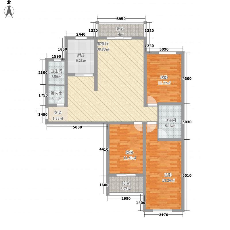 天客来状元府15.36㎡H-1'户型3室2厅2卫1厨