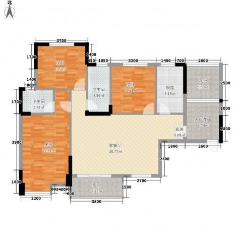 东信华府3室1厅2卫1厨1312.00㎡户型图